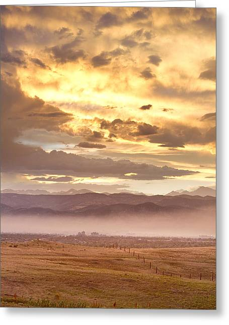Smoky Sunset Over Boulder Colorado  Greeting Card