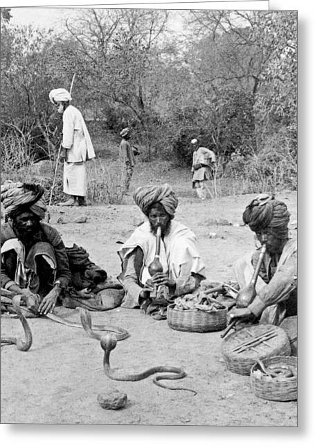 Snake Charmers In Delhi - India - C 1903 Greeting Card by International  Images