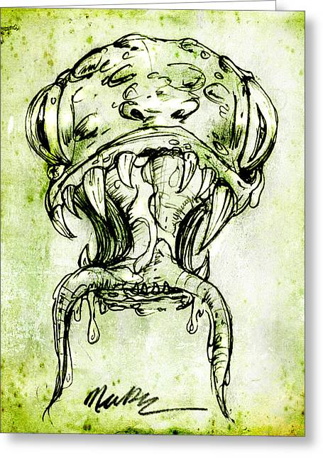 Greeting Card featuring the drawing Snake Monster  by Nada Meeks