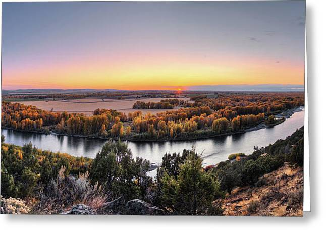 Snake River Panoramic Sunset Greeting Card by Leland D Howard