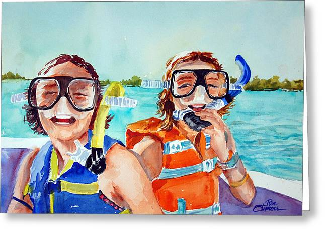 Snorkel Girls Greeting Card by Ron Stephens
