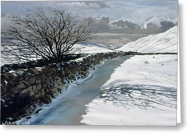 Snow Above Barbondale - Barbon Greeting Card by John Cooke