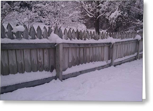Snow Along A Fence Greeting Card by Jeannette Brown