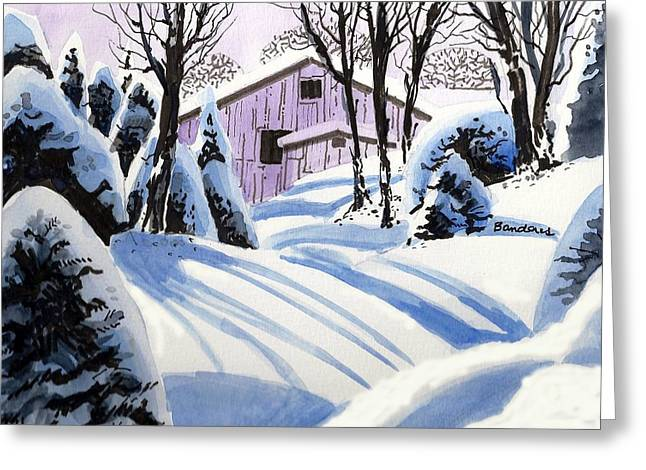 Greeting Card featuring the painting Snow And Shadows by Terry Banderas