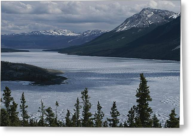 Snow-capped Moutains Rise Greeting Card by George F. Mobley