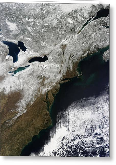 Snow Cover Stretching From Canada Greeting Card