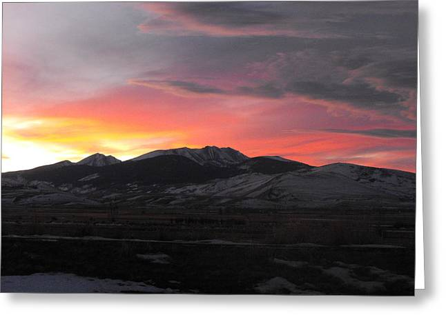 Snow Covered Mountain Sunset Greeting Card by Adam Cornelison