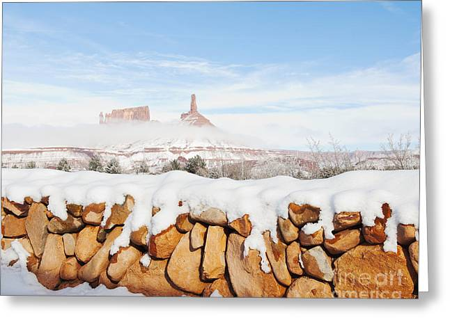 Snow Covered Rock Wall Greeting Card by Thom Gourley/Flatbread Images, LLC