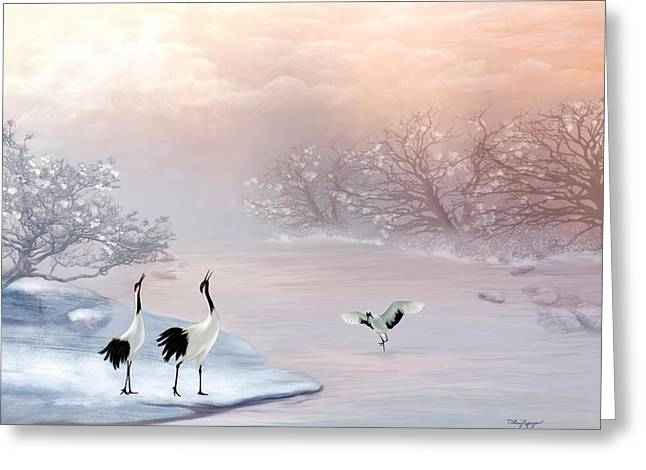Snow Cranes Greeting Card by Thanh Thuy Nguyen