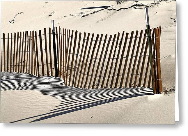 Snow Fence Shadows Greeting Card by Richard Gregurich