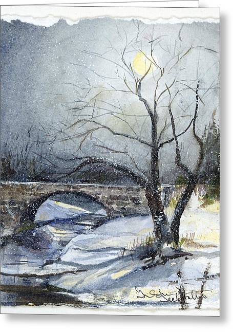Snow Moon Bridge Greeting Card by Gretchen Gackstatter
