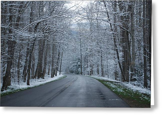 Snow On The Road Greeting Card by Carrie Munoz