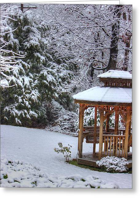 Snow On The Roof Greeting Card by Barry Jones