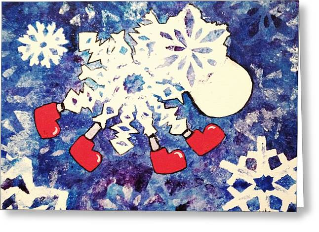 Snow Sheep Red Wellies Greeting Card