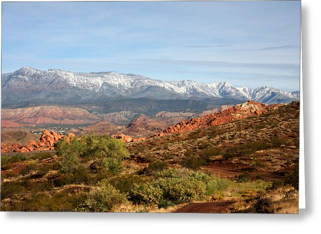 Snowcapped Foothills Greeting Card by Marta Alfred
