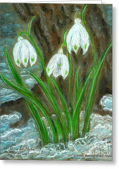 Snowdrops Greeting Card by Anna Folkartanna Maciejewska-Dyba