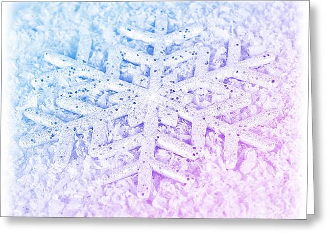 Snowflake Winter Background Greeting Card by Anna Om