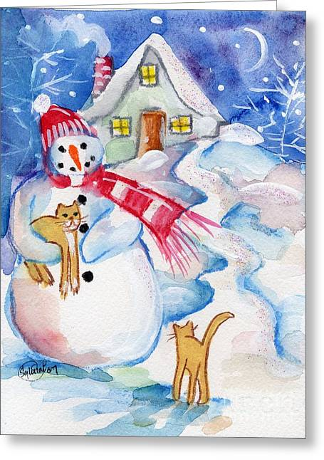 Snowman And Kitten Greeting Card by Sylvia Pimental