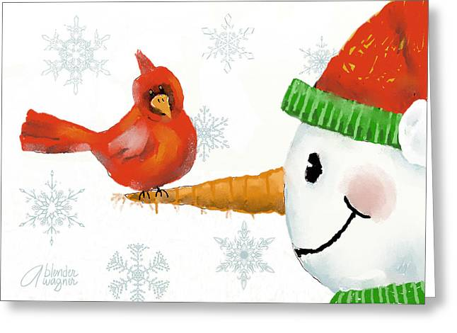 Snowman And The Cardinal Greeting Card