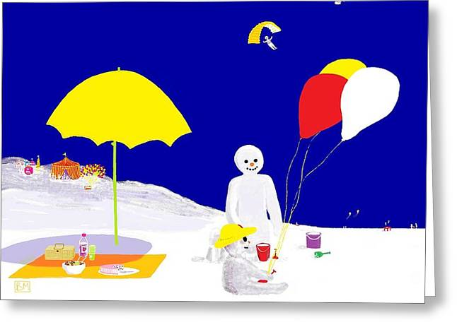 Greeting Card featuring the digital art Snowman Family Holiday by Barbara Moignard