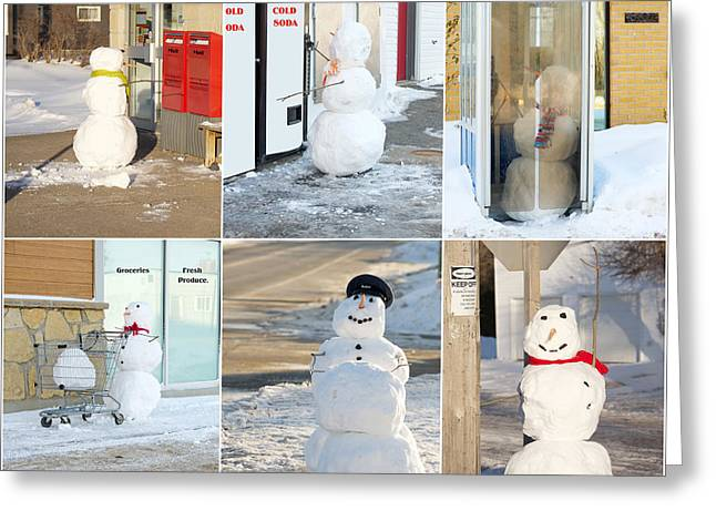 Snowmen Antics. Greeting Card by Kelly Nelson