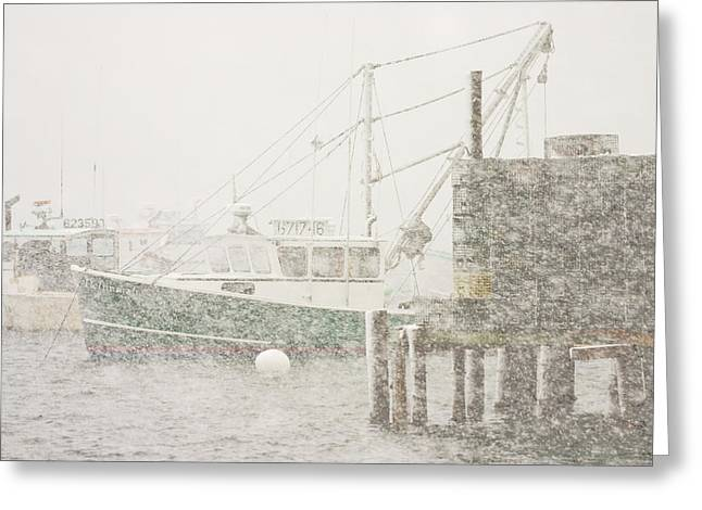 Snowstorm In Bass Harbor Mount Desert Island Maine Photograph Greeting Card by Keith Webber Jr