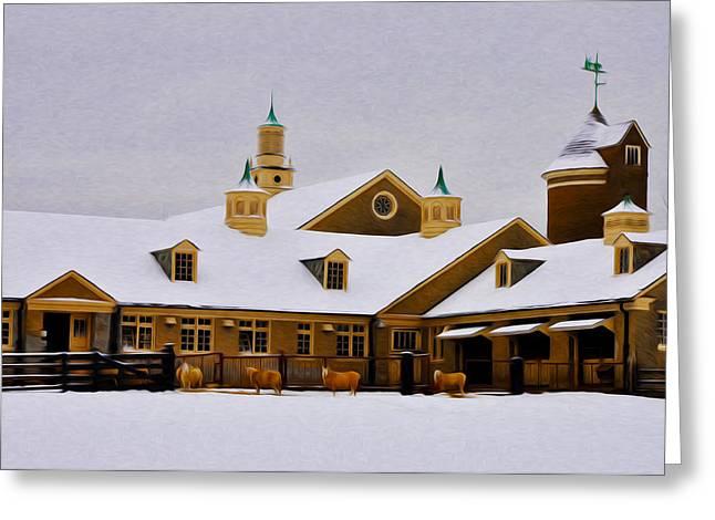 Snowy Day At Erdenheim Farm Greeting Card by Bill Cannon
