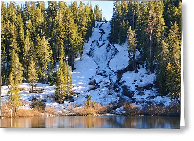 Greeting Card featuring the photograph Snowy Heart Falls by Lynn Bauer