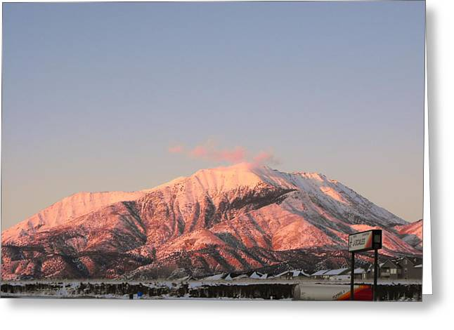 Snowy Mountain At Sunset Greeting Card