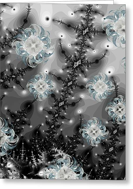 Snowy Night II Fractal Greeting Card by Betsy Knapp