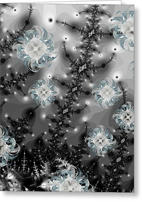 Snowy Night II Fractal Greeting Card