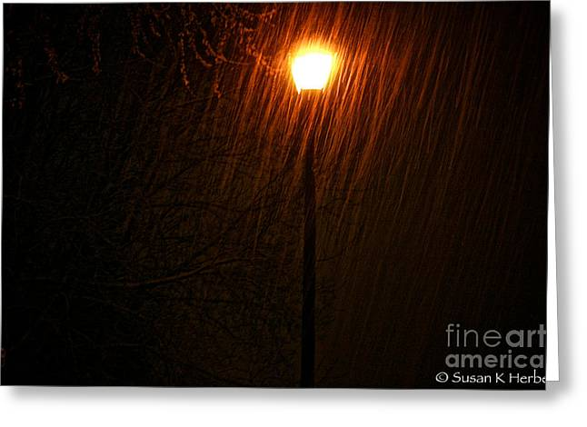 Snowy Night Greeting Card by Susan Herber