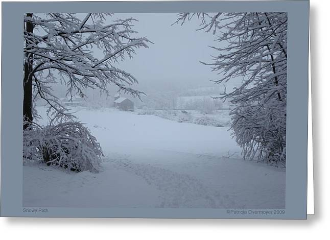 Snowy Path Greeting Card by Patricia Overmoyer