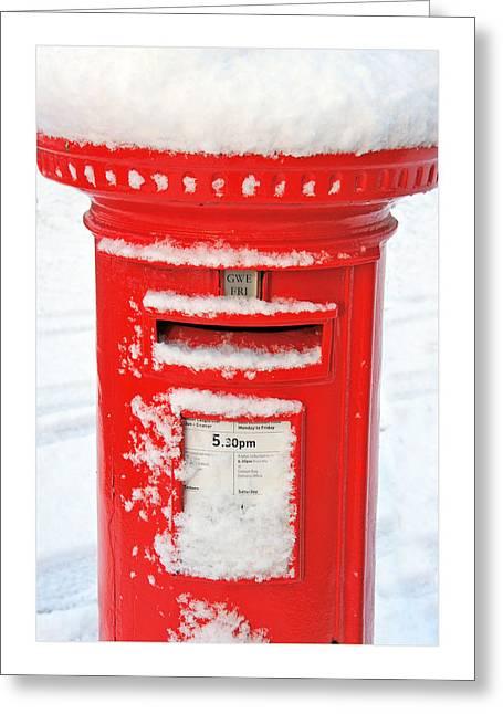 Snowy Pillar Box Greeting Card by Mal Bray