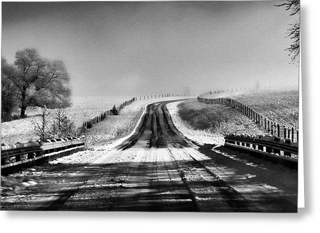 Snowy Road Greeting Card by Brent Craft