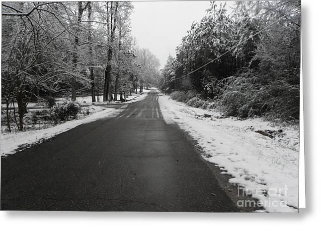 Snowy Street After A Winter Storm Greeting Card by Cindy Hudson