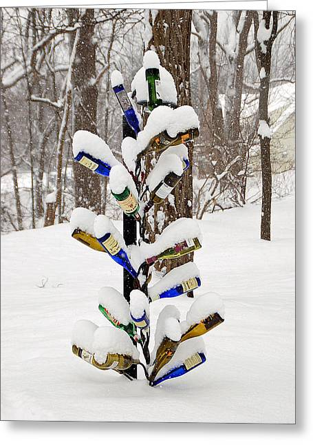Snowy Wine Bottle Sculpture Greeting Card by Aimee L Maher Photography and Art Visit ALMGallerydotcom