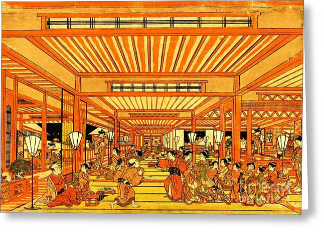 Social Life In Shin Yoshiwara 1772 Greeting Card