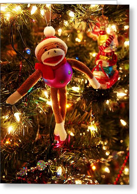 Sock Monkey Is In The Season Greeting Card