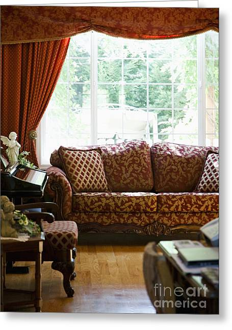 Sofa In Living Room Greeting Card by Andersen Ross
