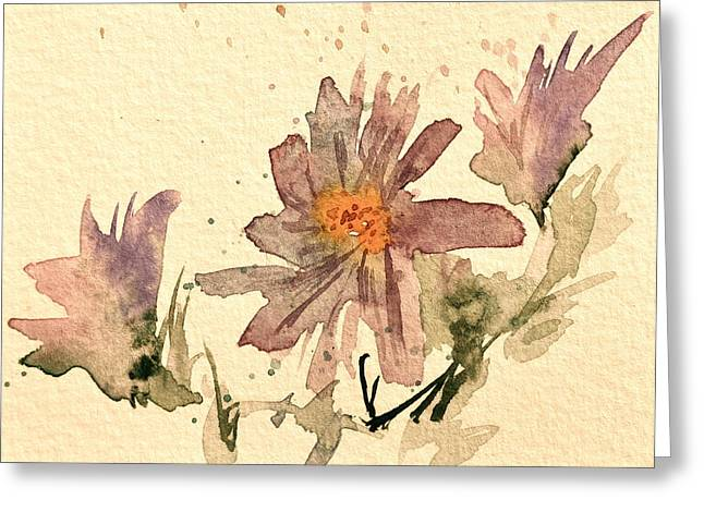 Soft Asters Aged Look Greeting Card by Beverley Harper Tinsley