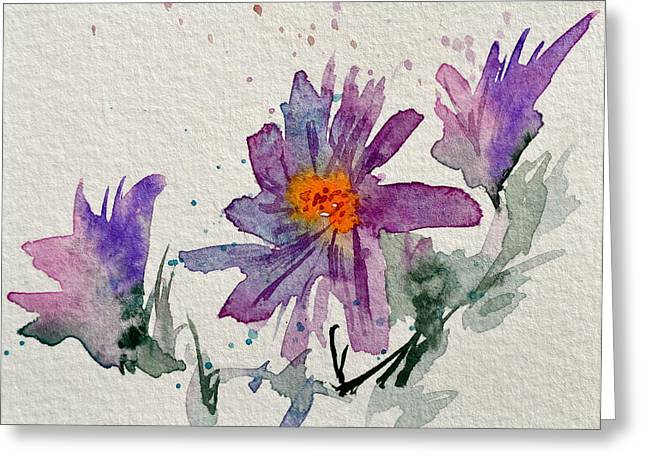 Soft Asters Greeting Card by Beverley Harper Tinsley