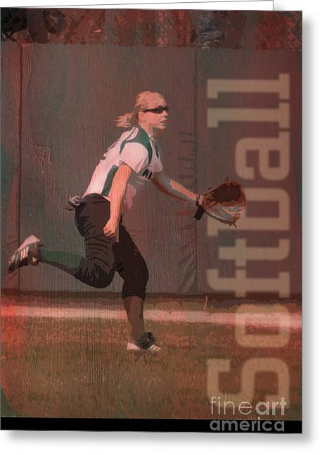 Softball Outfielder Greeting Card