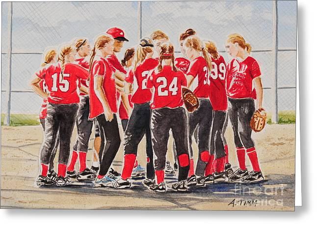 Softball Season Greeting Card by Andrea Timm
