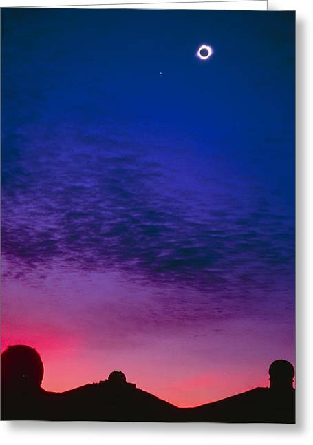 Solar Eclipse Over Mauna Kea Observatory Greeting Card by Magrath Photography