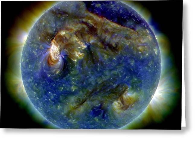 Solar Flare, 1 August 2010, Sdo Image Greeting Card by Nasa