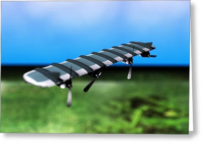 Solar Powered Aeroplane, Artwork Greeting Card by Christian Darkin