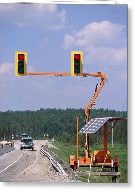 Solar-powered Traffic Lights Greeting Card