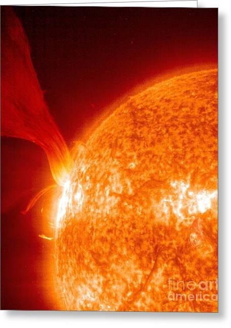Solar Prominence, Soho Image Greeting Card by Solar & Heliospheric Observatory consortium (ESA & NASA)