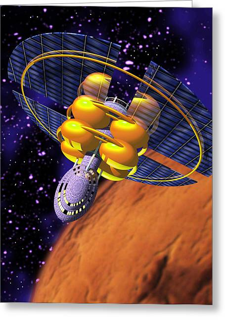 Solar Sail Spacecraft Greeting Card by Victor Habbick Visions